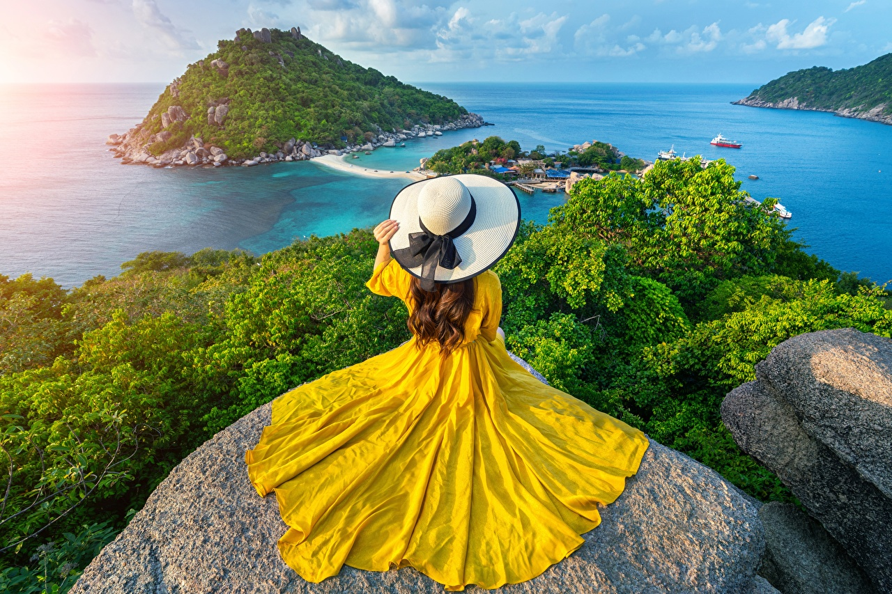 Immagini Thailandia Mare Natura ragazza Cappello Isola Paesaggio Pietre Vestito Ragazze giovane donna giovani donne Abito