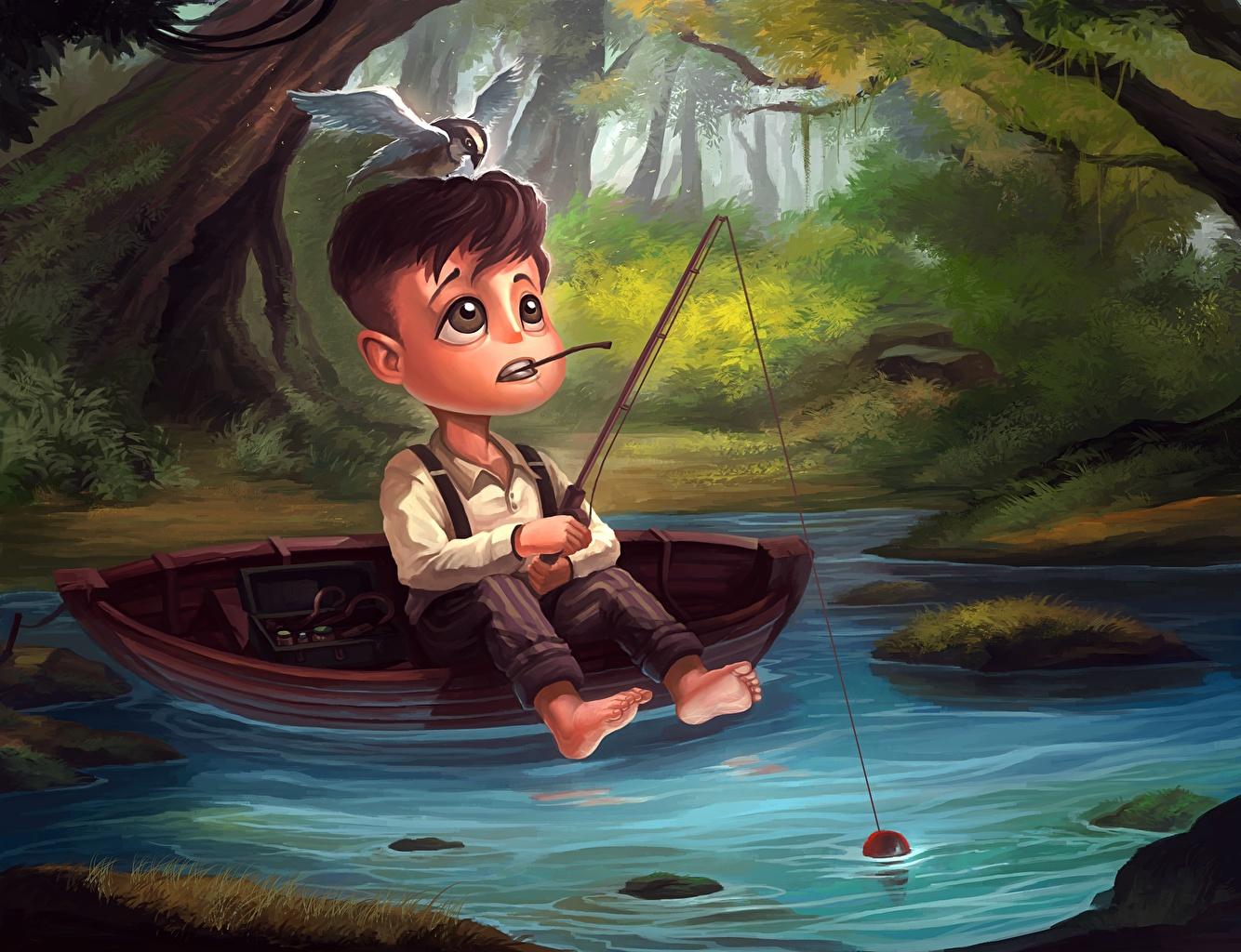 Fonds d'ecran Bateau Étang De pêche Canne à pêche Garçon Fantasy télécharger photo