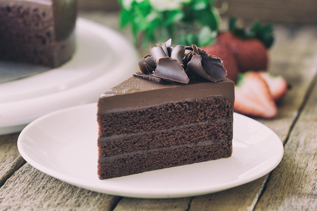 Picture Chocolate Cakes Piece Food Plate Torte pieces