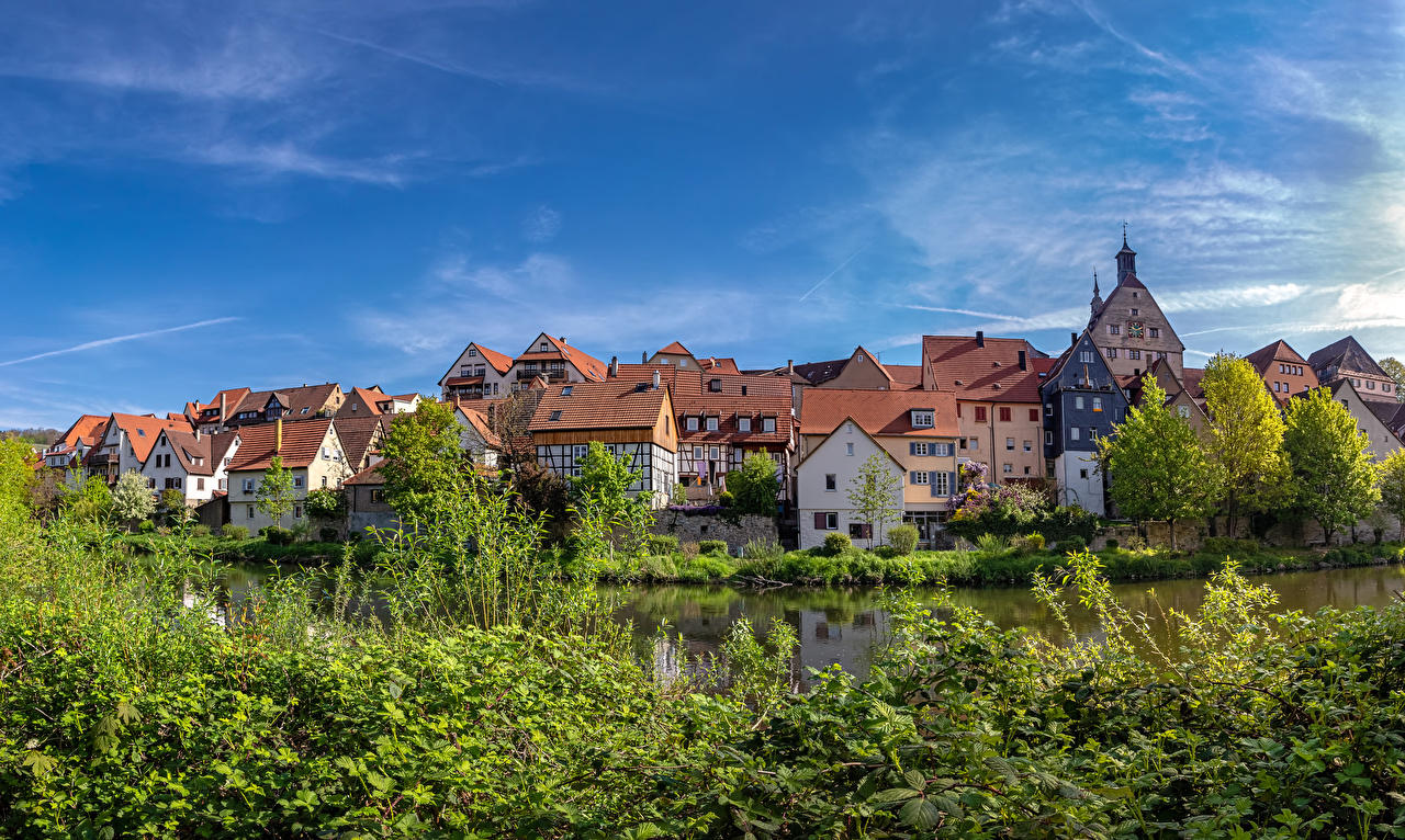 Pictures Germany Besigheim river Bush Houses Cities Rivers Shrubs Building