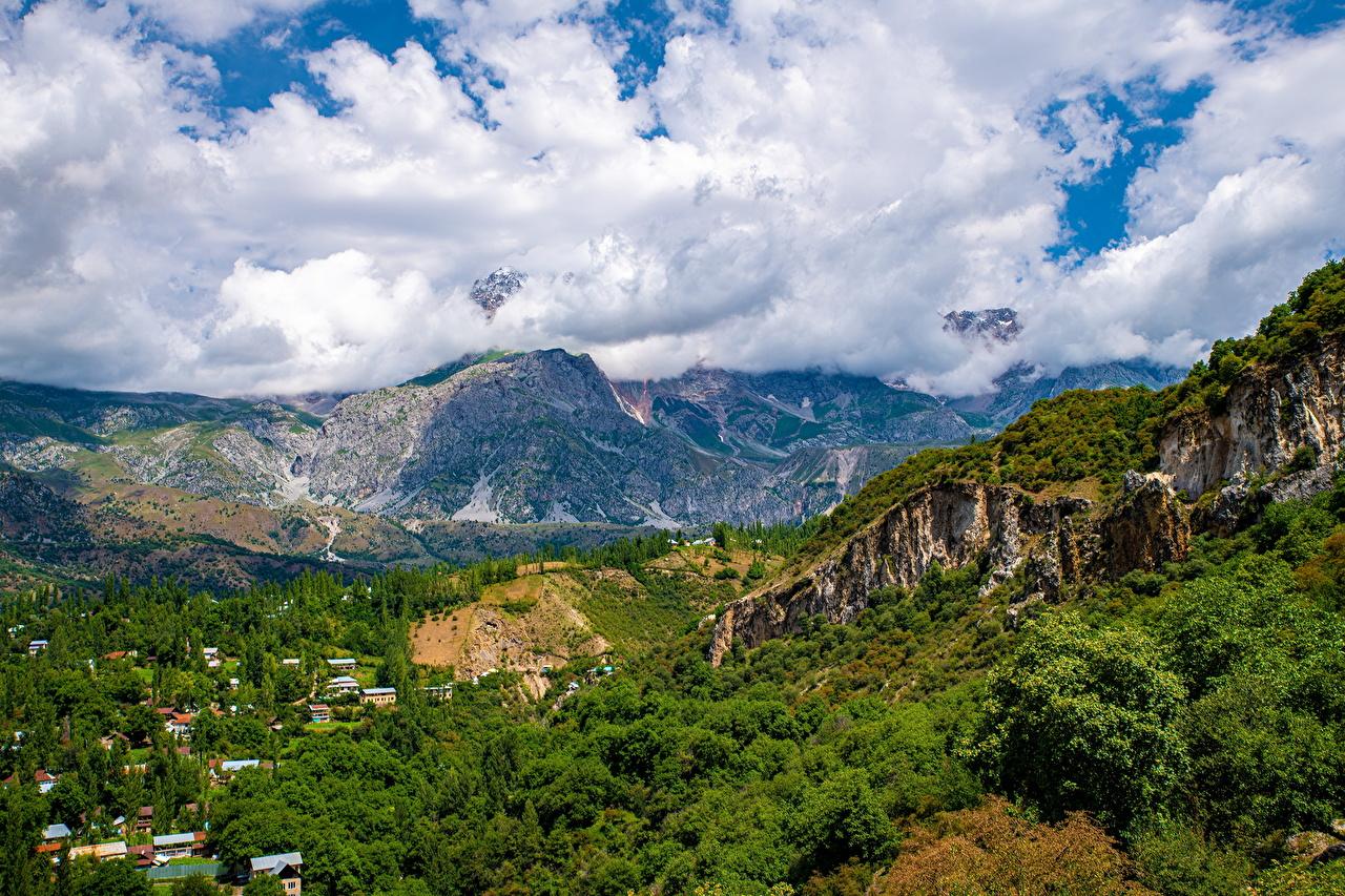 Картинка Arslanbob, Kyrgyzstan Горы Природа Облака гора облако облачно