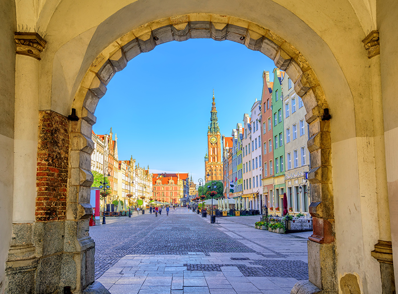 Images Gdańsk Poland Arch Street Houses Cities Building