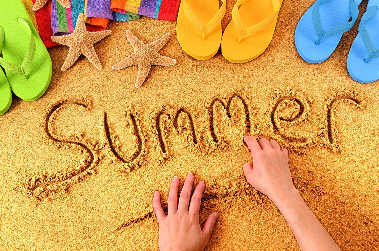 Pictures English Flip-flops Summer Sand lettering Hands text Word - Lettering