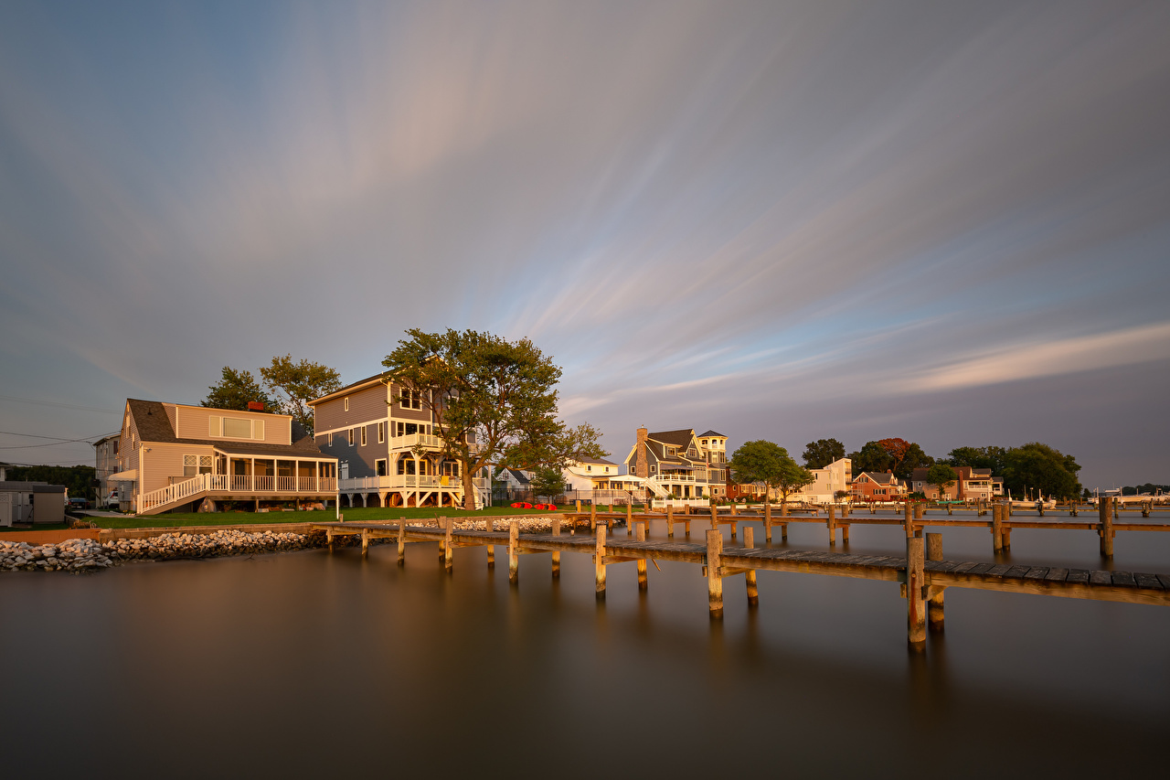 Picture USA Middle River Nature Rivers Marinas Houses Pier river Berth Building