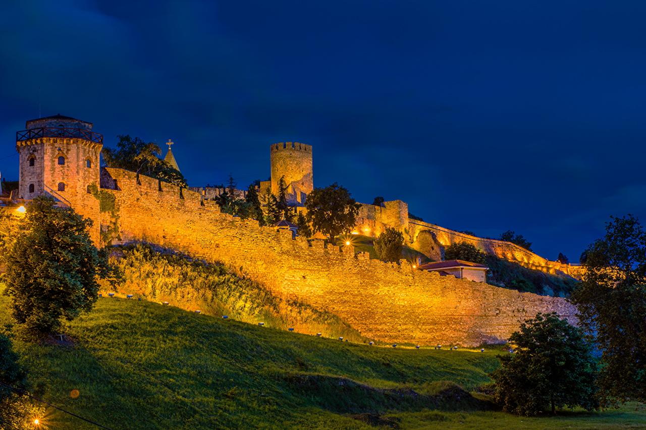 Desktop Wallpapers Cities Night Fortress Kalemegdan Belgrade Serbia night time Fortification