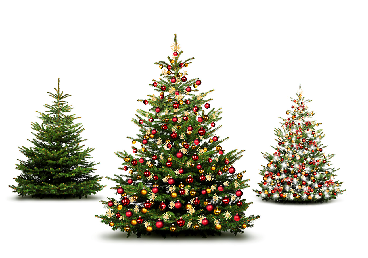 Pictures New year New Year tree Balls Three 3 White background Christmas Christmas tree