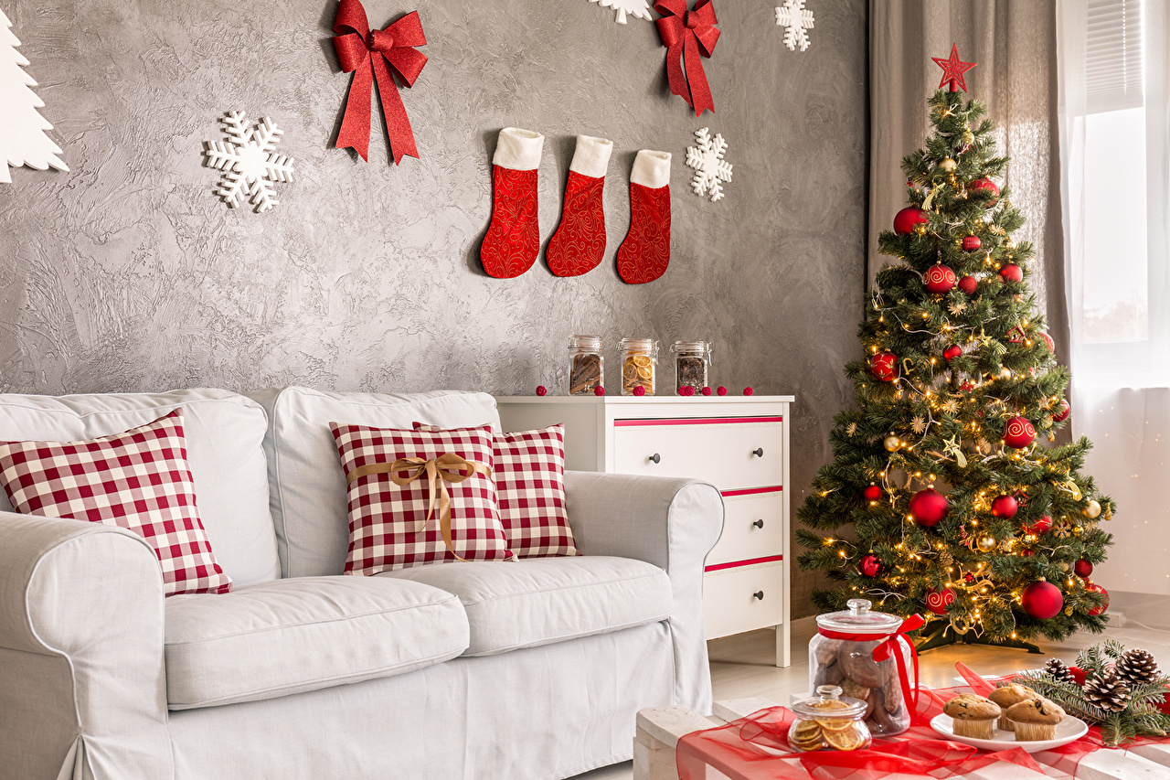 Images New year Socks Snowflakes New Year tree Interior Wall Couch Balls Pillows Holidays Design Christmas Christmas tree Sofa walls