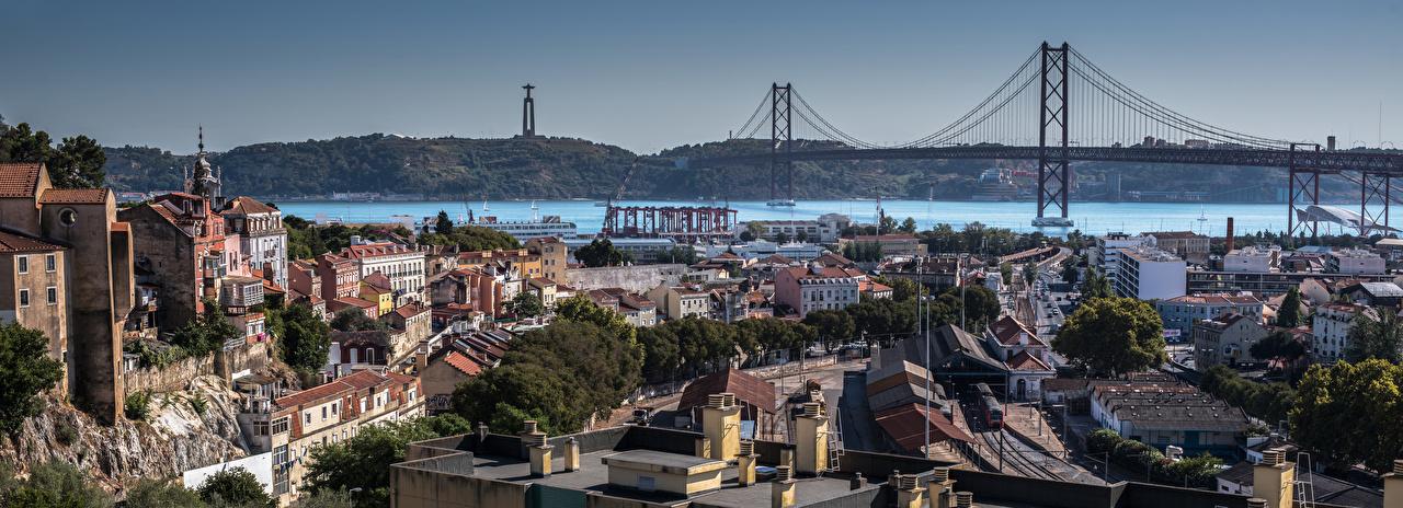 Photo Cities Lisbon Portugal Bridges river Building panoramic bridge Rivers Houses Panorama