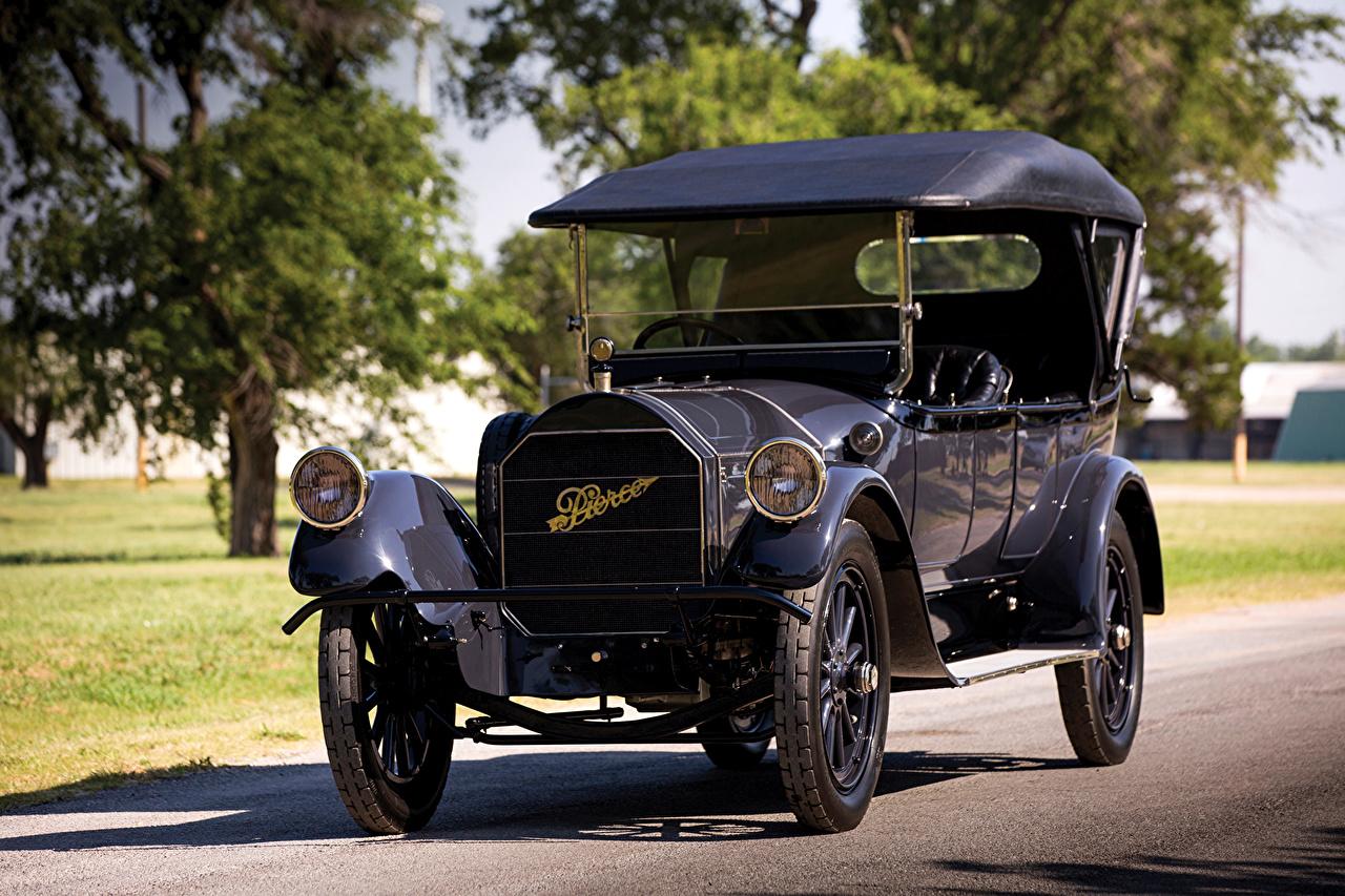Desktop Wallpapers 1916 Pierce-Arrow Model 66-A 7-passenger Touring Black vintage Metallic automobile Retro antique Cars auto