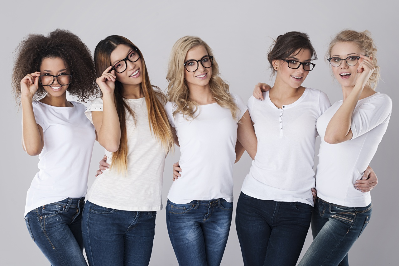 Picture Blonde girl Brown haired Smile 5 curls Beautiful female T-shirt Jeans eyeglasses Curly Girls young woman Glasses
