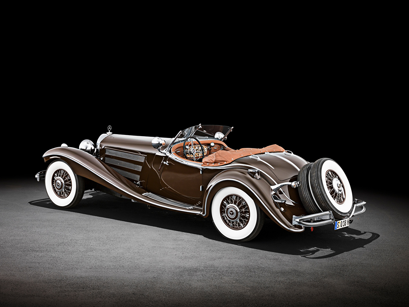 Photos Mercedes-Benz 500 K Special Roadster (W 29), 1934 Retro Brown Cars vintage antique auto automobile