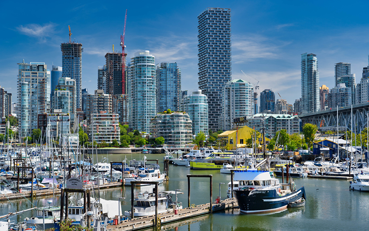 Photo Vancouver Canada Burrard Marina Berth Boats Yacht Houses Cities Pier Marinas Building