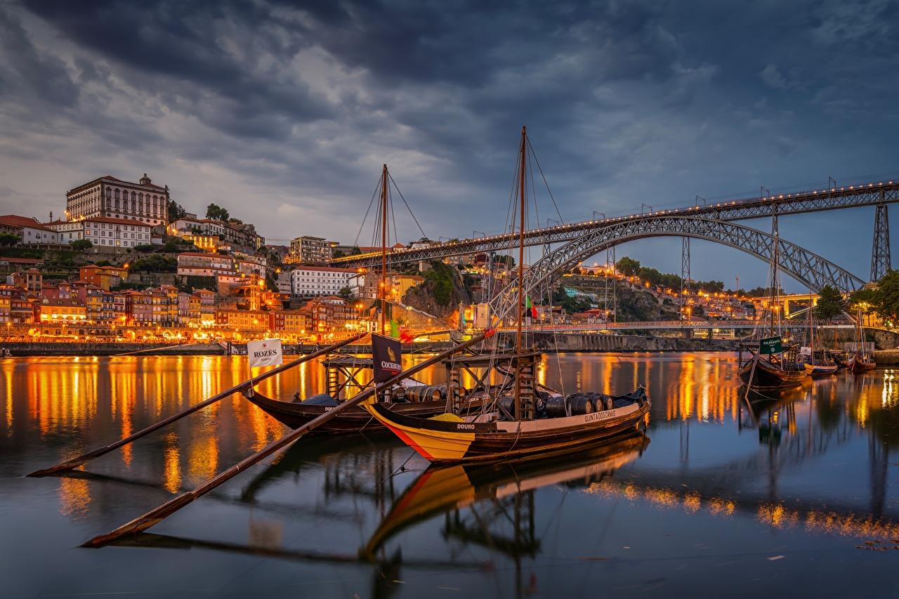 Picture Oporto Portugal Douro River bridge river Boats Cities Porto Bridges Rivers