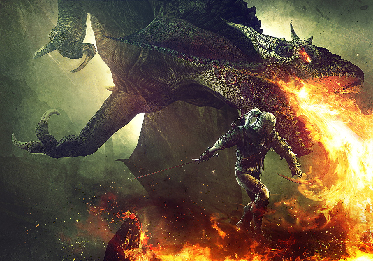 Images The Witcher 3: Wild Hunt Dragons Geralt of Rivia Warriors Fantasy flame vdeo game dragon warrior Fire Games