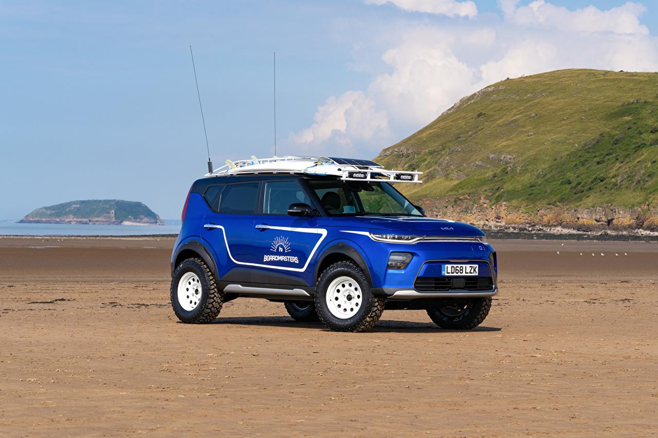 Desktop Wallpapers KIA Soul EV Boardmasters Edition, (SK3), 2021 Blue auto Metallic Cars automobile