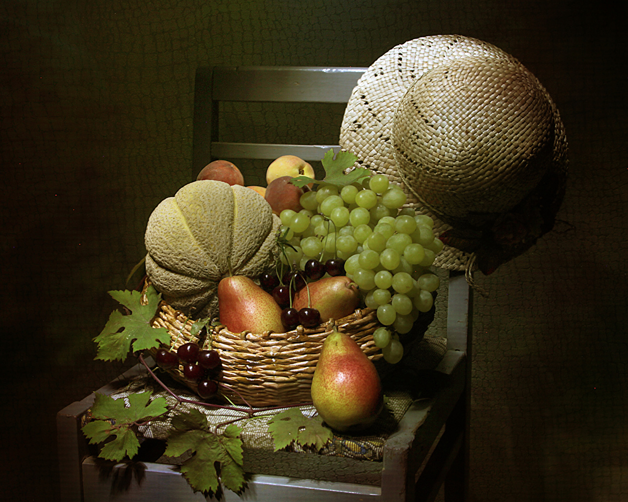 Image Leaf Hat Pears Cherry Melons Grapes Wicker basket Food Chairs Still-life Gray background Foliage