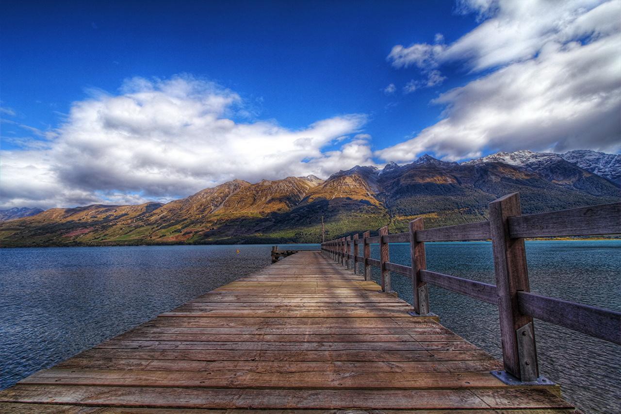 、川、ニュージーランド、桟橋、Glenorchy、塀、木製、木の板、雲、ハイダイナミックレンジ合成、自然、