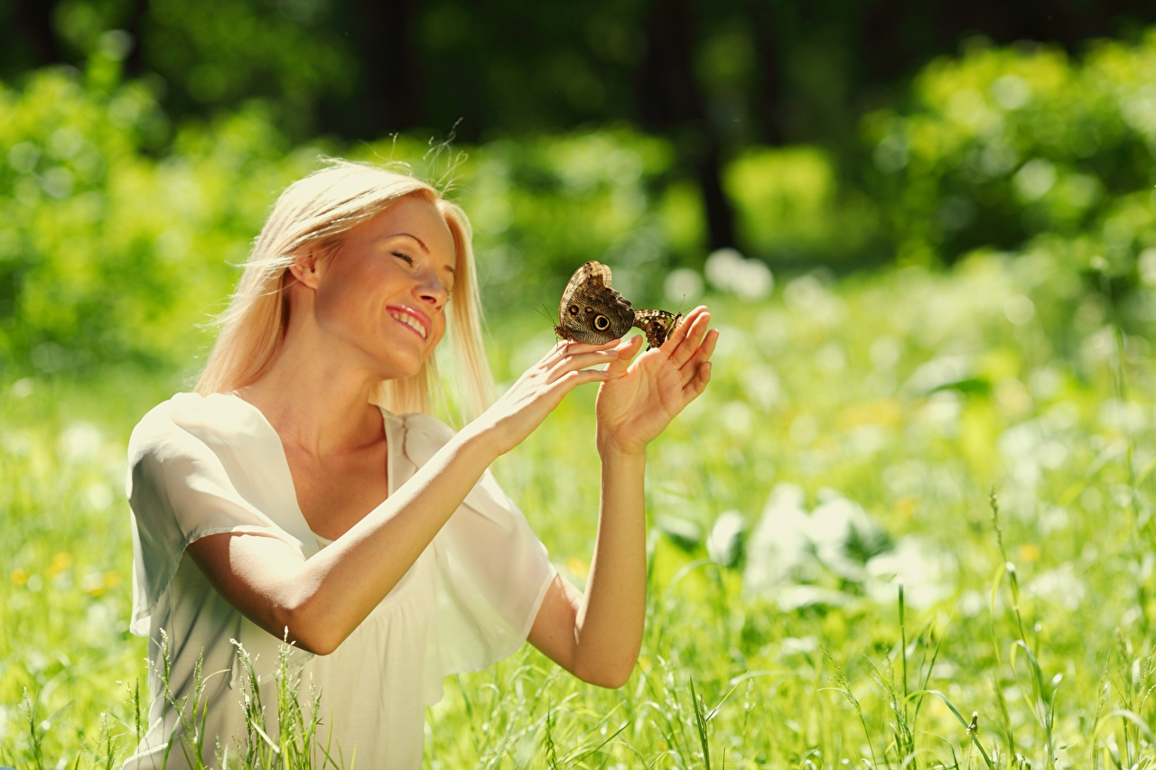 Images butterfly Blonde girl Smile Bokeh Summer young woman Hands Butterflies blurred background Girls female