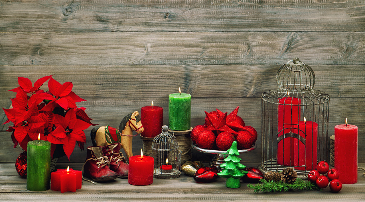 Desktop Wallpapers Christmas Boots Balls Candles Pine cone New year Conifer cone
