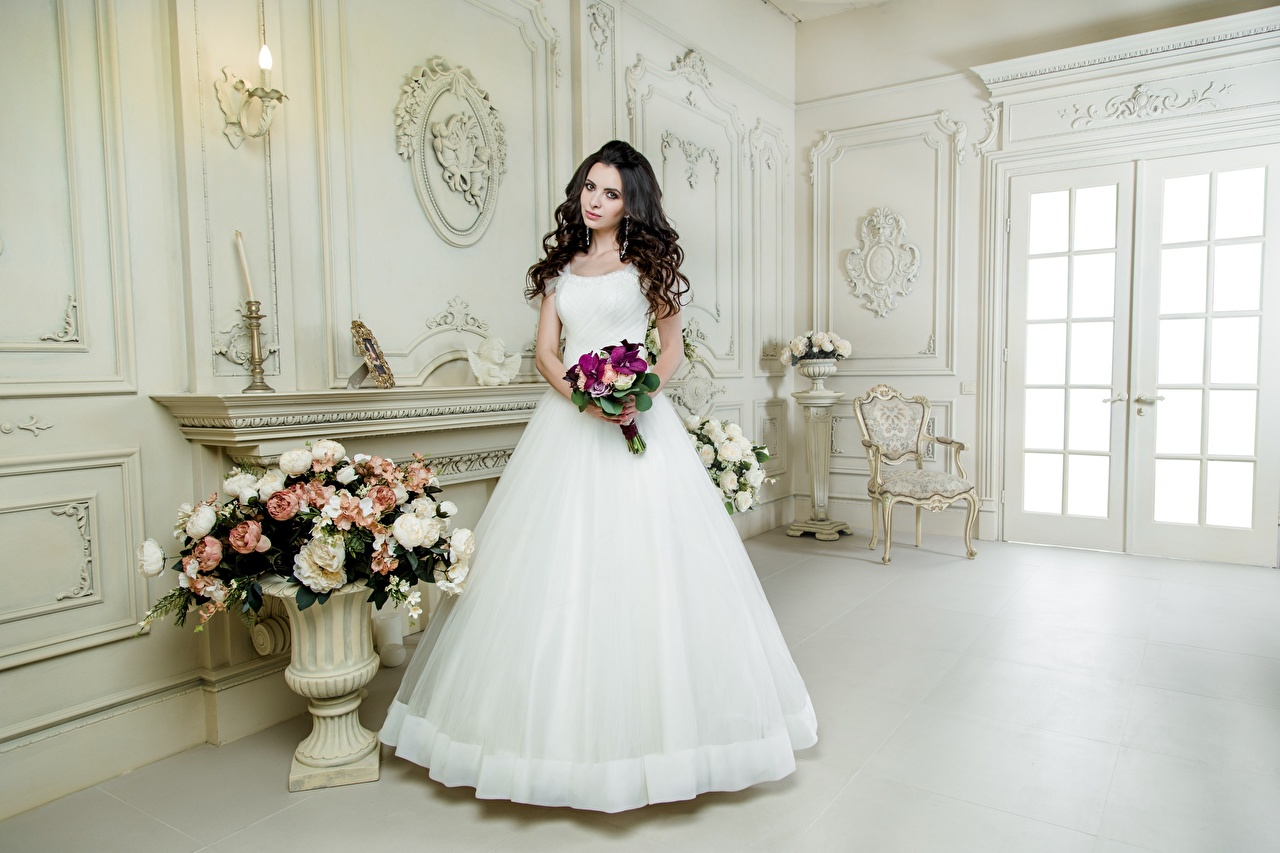Picture Bride Brunette girl Bouquets White Girls gown brides bouquet female young woman frock Dress