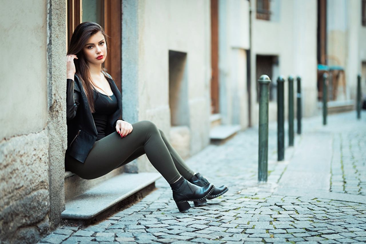 Wallpaper Ester Merja Brunette girl Model Luigi Malanetto Girls Jacket Legs sit Modelling female young woman Sitting