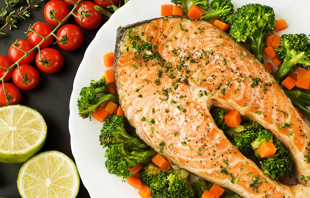 Wallpaper Salmon Broccoli Fish - Food Food Vegetables