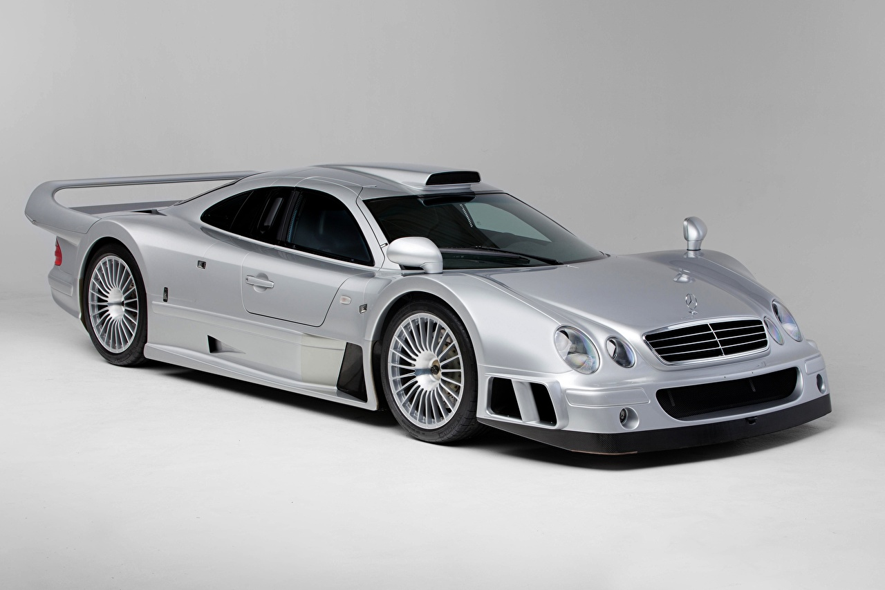 Image Mercedes-Benz CLK GTR AMG Coupe, 1997 Coupe Silver color Cars Metallic Gray background auto automobile