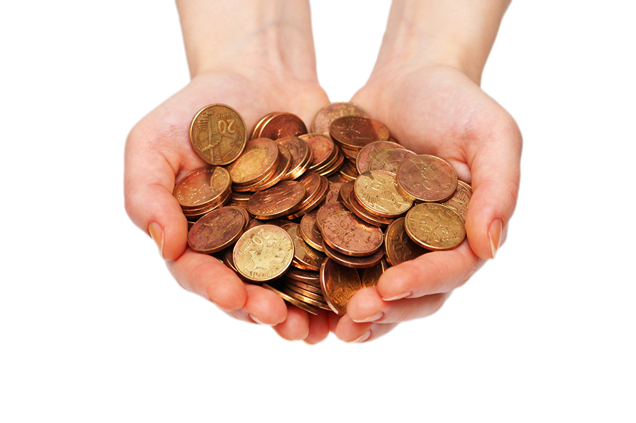Photo Coins Hands Money White background