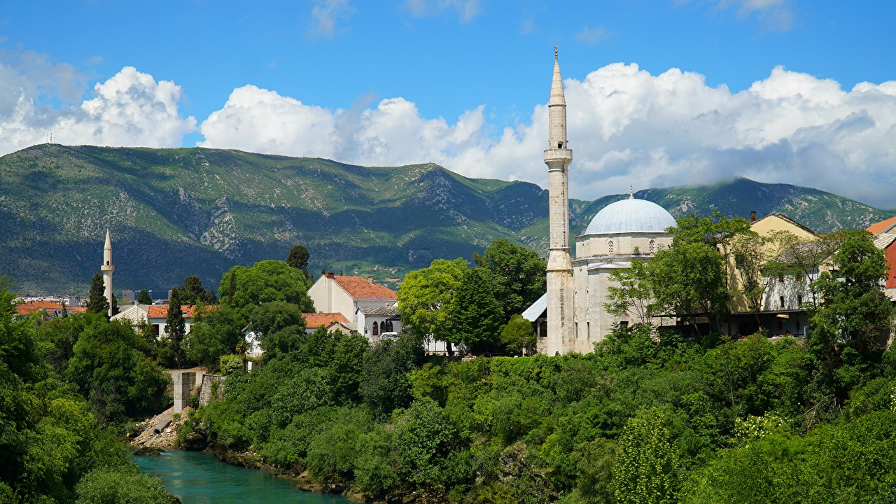 Bilde Moské Bosnia-Hercegovina Tårn Mostar, Neretva River Elver Elv byen Byer en by
