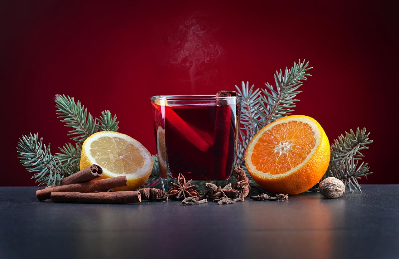 Photo Christmas Orange fruit Star anise Illicium Lemons Cinnamon Highball glass Food Nuts Drinks New year