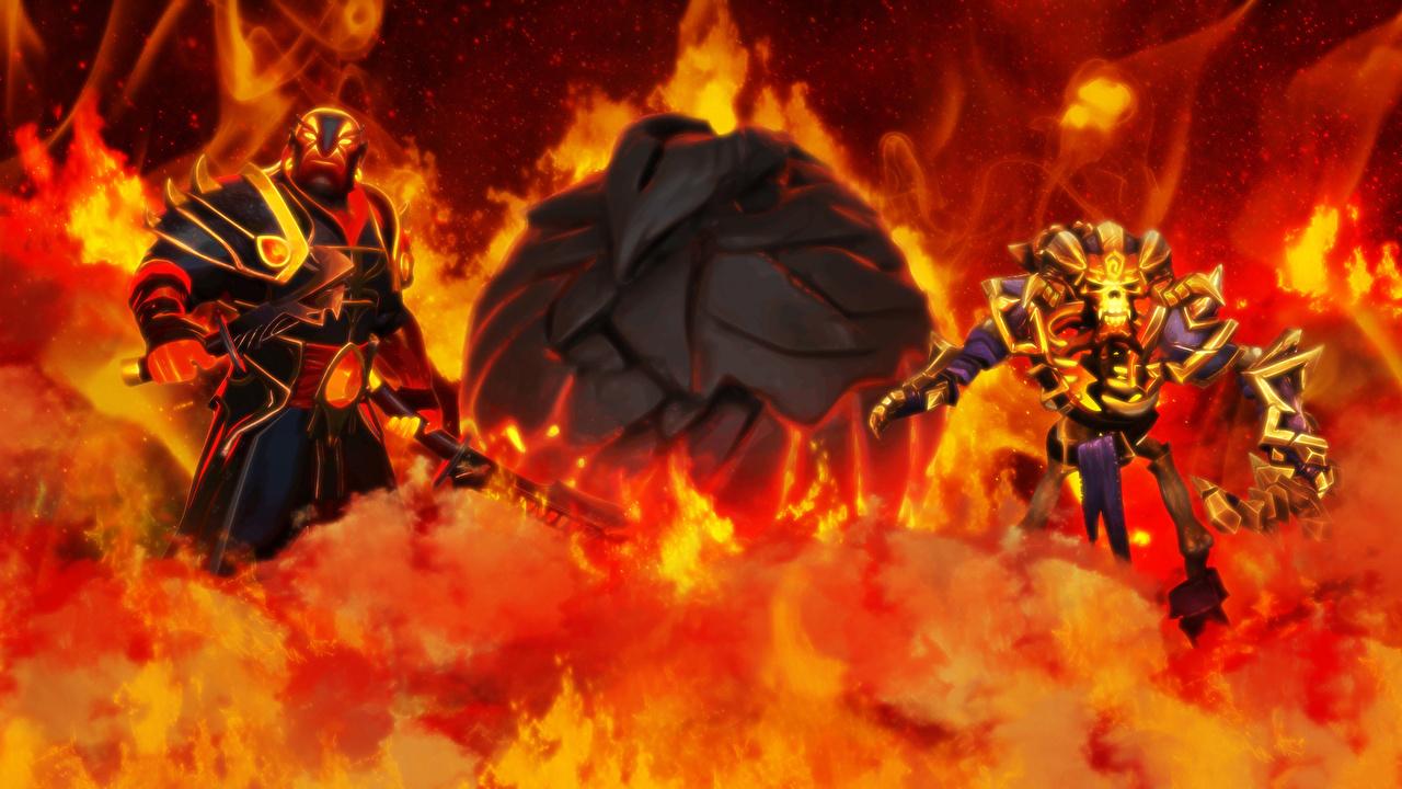 Pictures DOTA 2 Clinkz Phoenix Ember Spirit Archers Undead monster Warriors Fantasy Fire Games Monsters warrior flame vdeo game