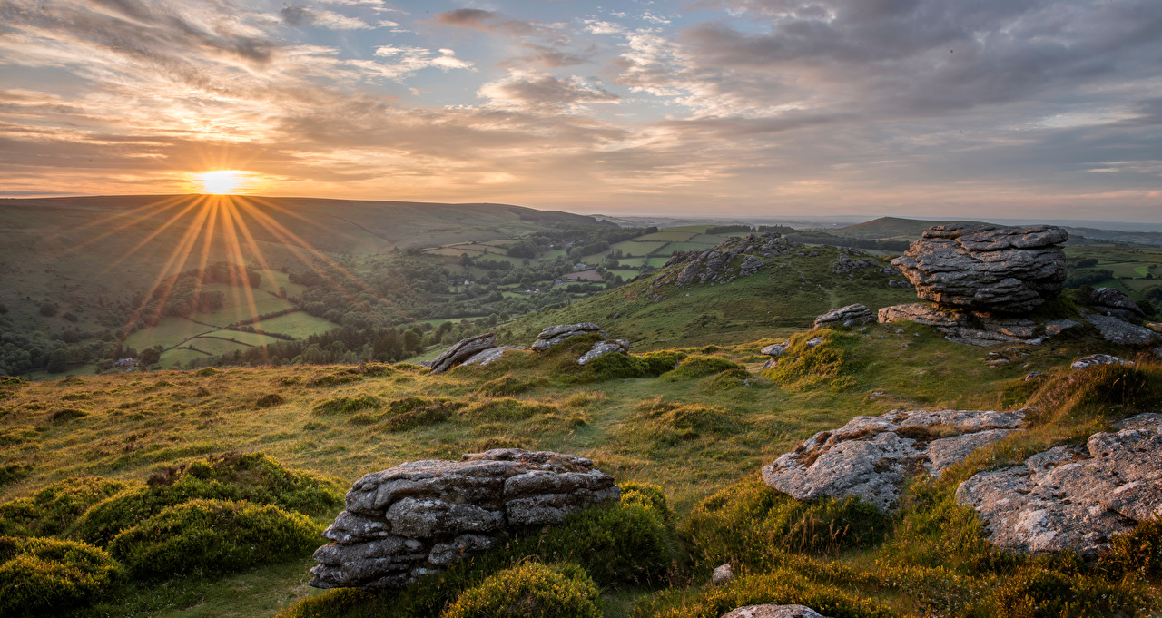 Image England Devon Sun Nature Hill Morning landscape photography stone Scenery Stones