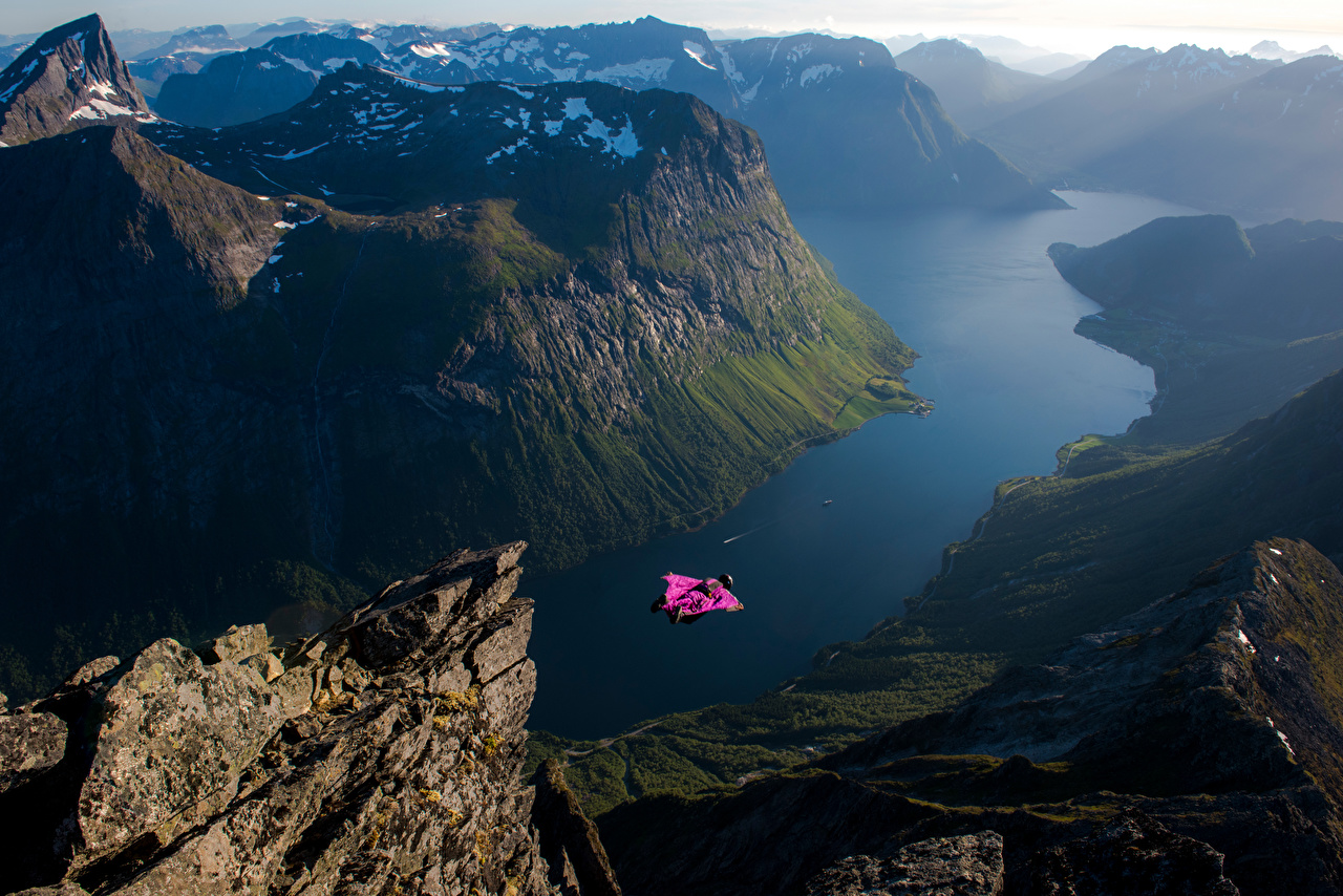 Wallpaper Norway base jumping, Slogen Fjord Cliff Nature mountain Flight Rock Crag Mountains
