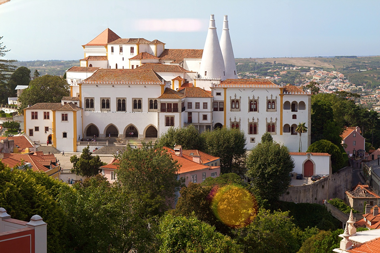 Skrivebordsbakgrunn Palass Portugal Paleis van Sintra en by Byer byen