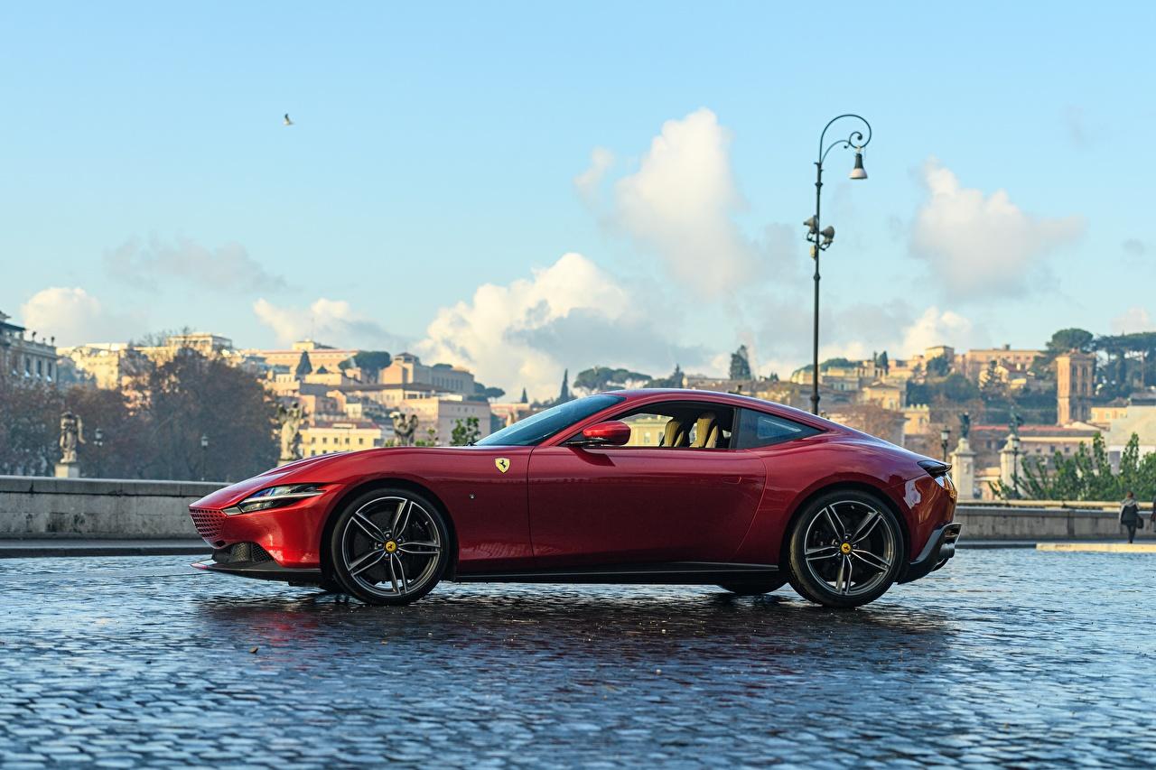 Fondos De Pantalla Ferrari Roma 2020 Lateralmente Rojo Coupe Coches Descargar Imagenes