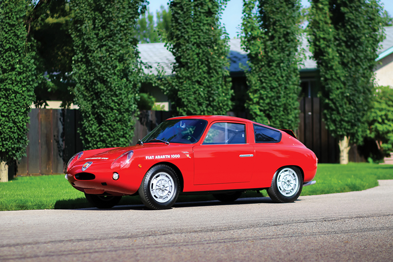 Picture Fiat 1961-63 Abarth 1000 GT Bialbero Red vintage Cars Metallic Retro antique auto automobile