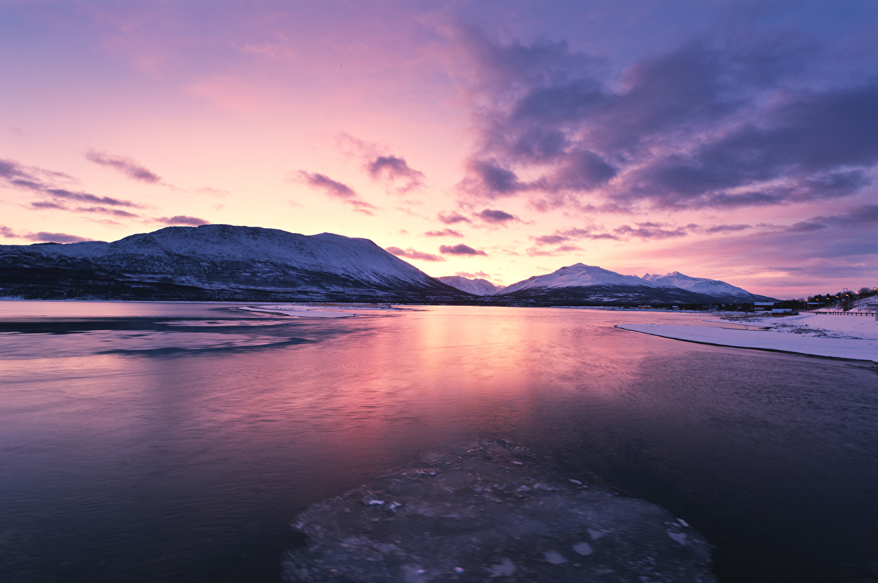 Pictures Lofoten Norway Winter Nature Mountains Sunrises and sunsets Bay