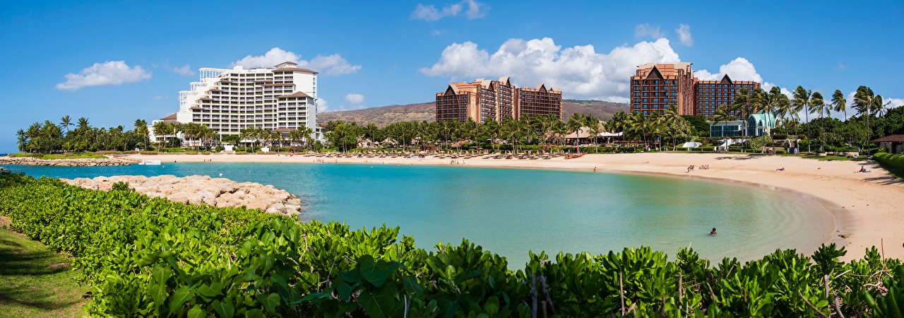 Images Hawaii USA panoramic Ko Olina Lagoon, Oahu Beach Palms Cities Building Panorama beaches palm trees Houses