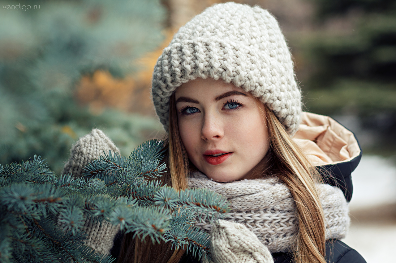 Picture Scarf Mittens Bokeh female Winter hat Branches Staring blurred background Girls young woman Glance