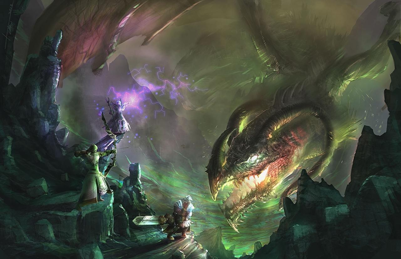 Photos Dragons Archers Warriors Fantasy Battles dragon warrior fighting