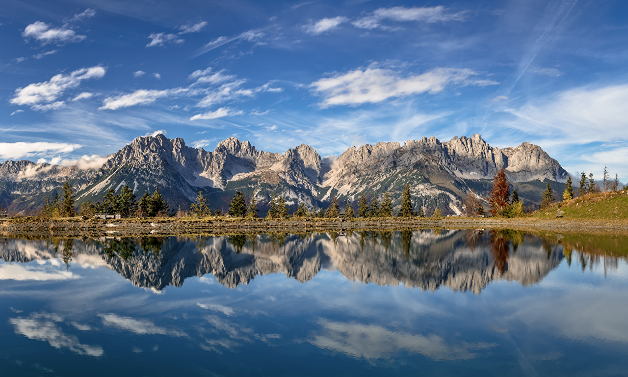 Picture Nature Austria panoramic Tyrol Mountains Reflection Lake Clouds Alps Panorama mountain reflected