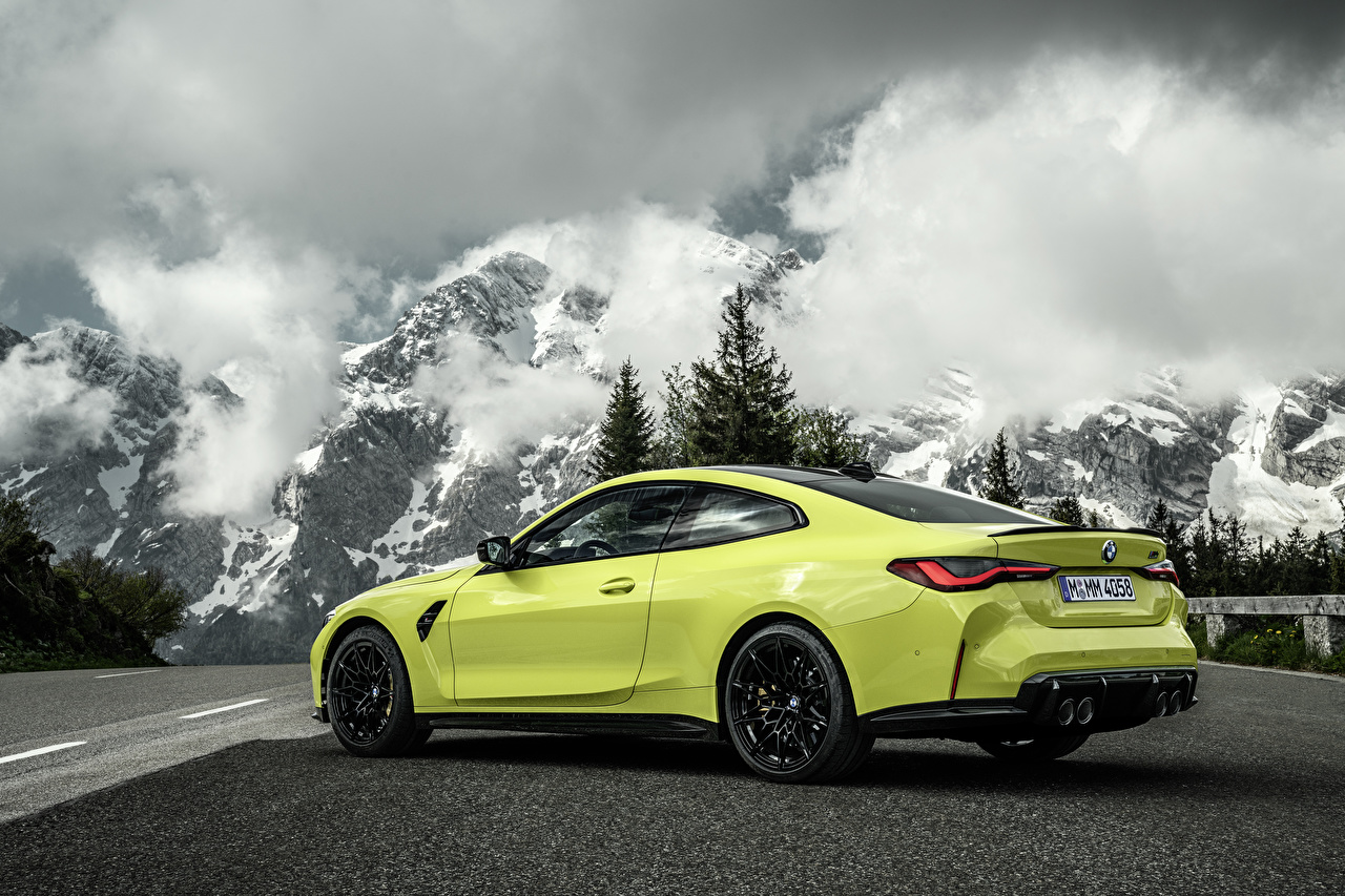 Wallpaper BMW M4 Competition, (G82), 2020 Coupe Nature mountain Metallic automobile Clouds Mountains Cars auto