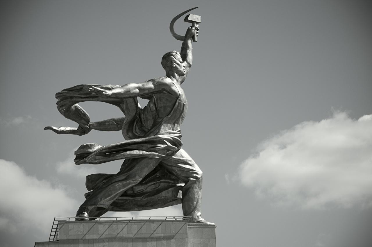 Fotos Moskau Russland Denkmal Worker And Collective Farmer Seitlich Schwarzweiss Städte schwarz weiß