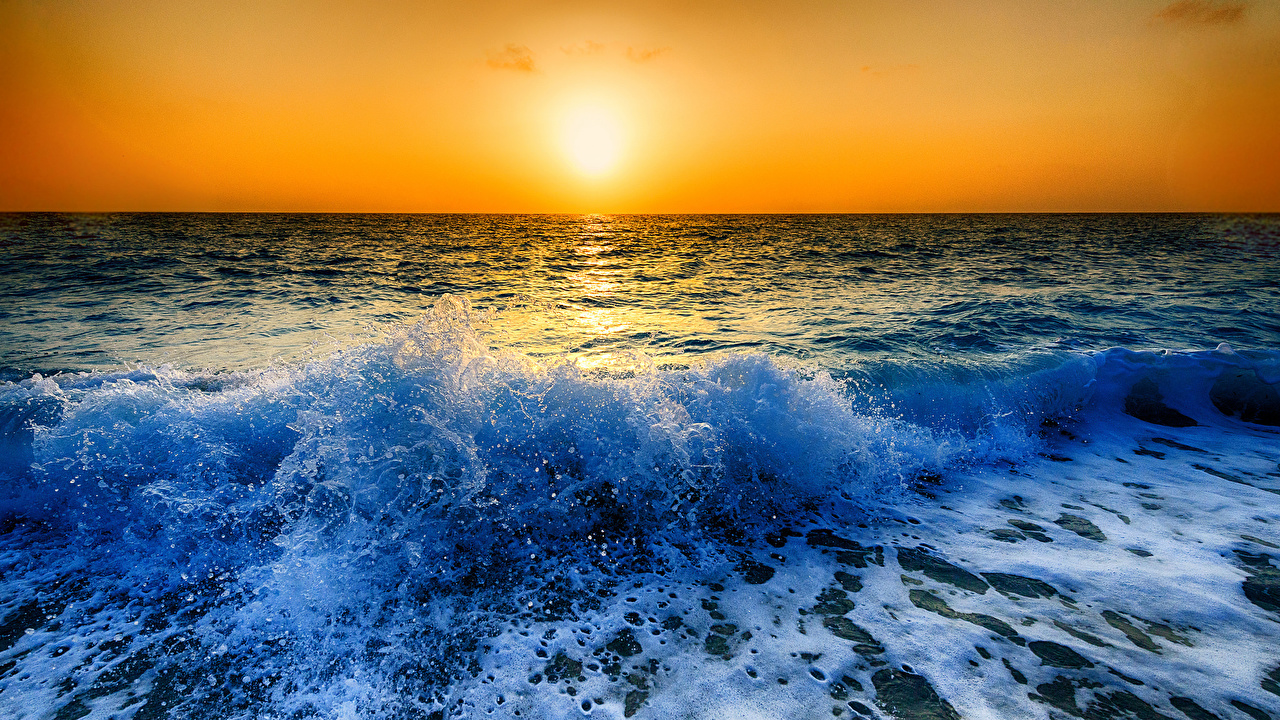 Pictures Nature Waves Water Splash Sunrise And Sunset