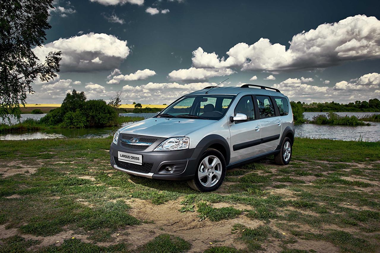 Image Lada Russian cars 2014-16 Largus Cross Silver color Cars Metallic Clouds auto automobile