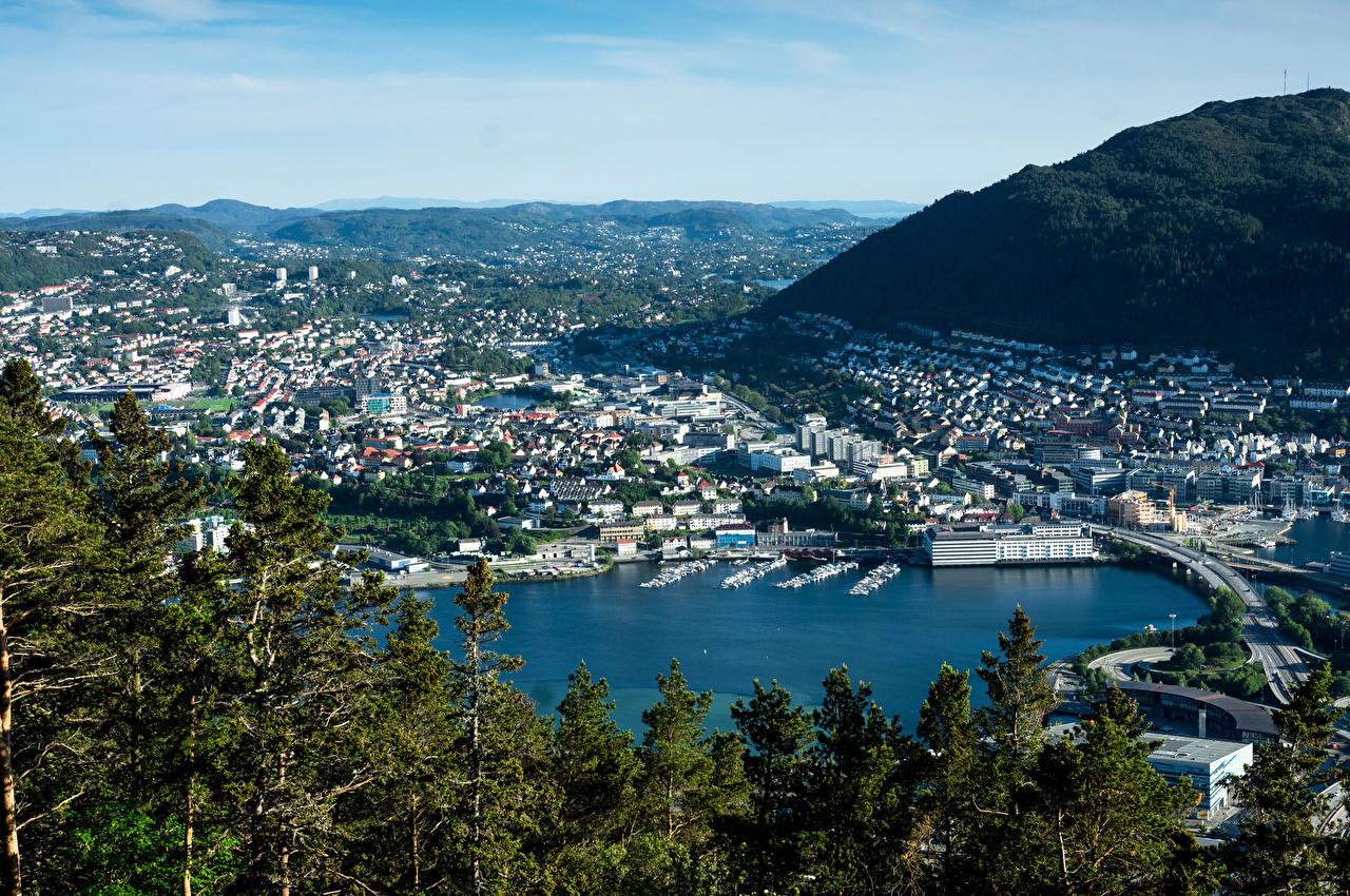 Tapety na pulpit Norwegia Bergen most zatoki Przystań Domy miasto Mosty Zatoka Miasta budynki budynek