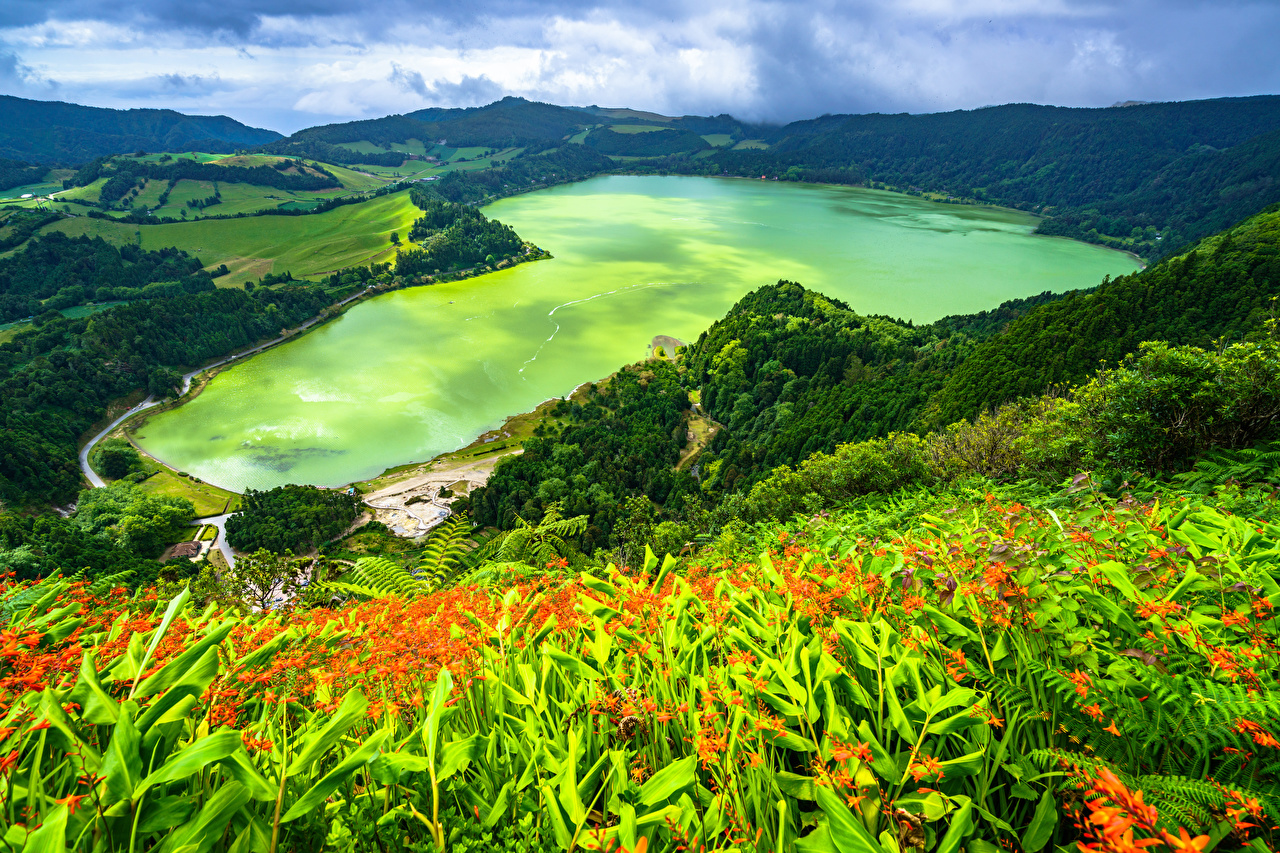 Image Portugal Azores, Furnas Lake Nature mountain Coast From above