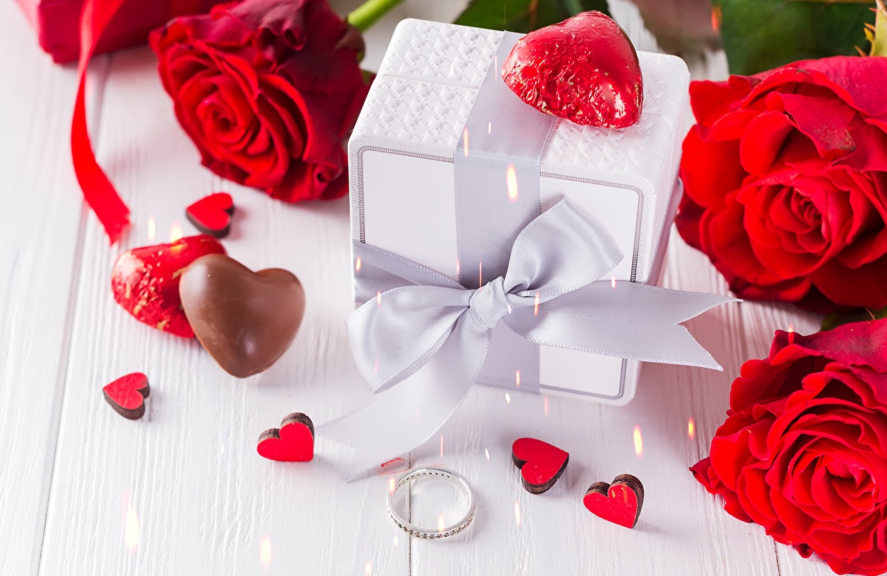 Image Valentine's Day Heart Roses Box Flowers bow knot rose flower Bowknot