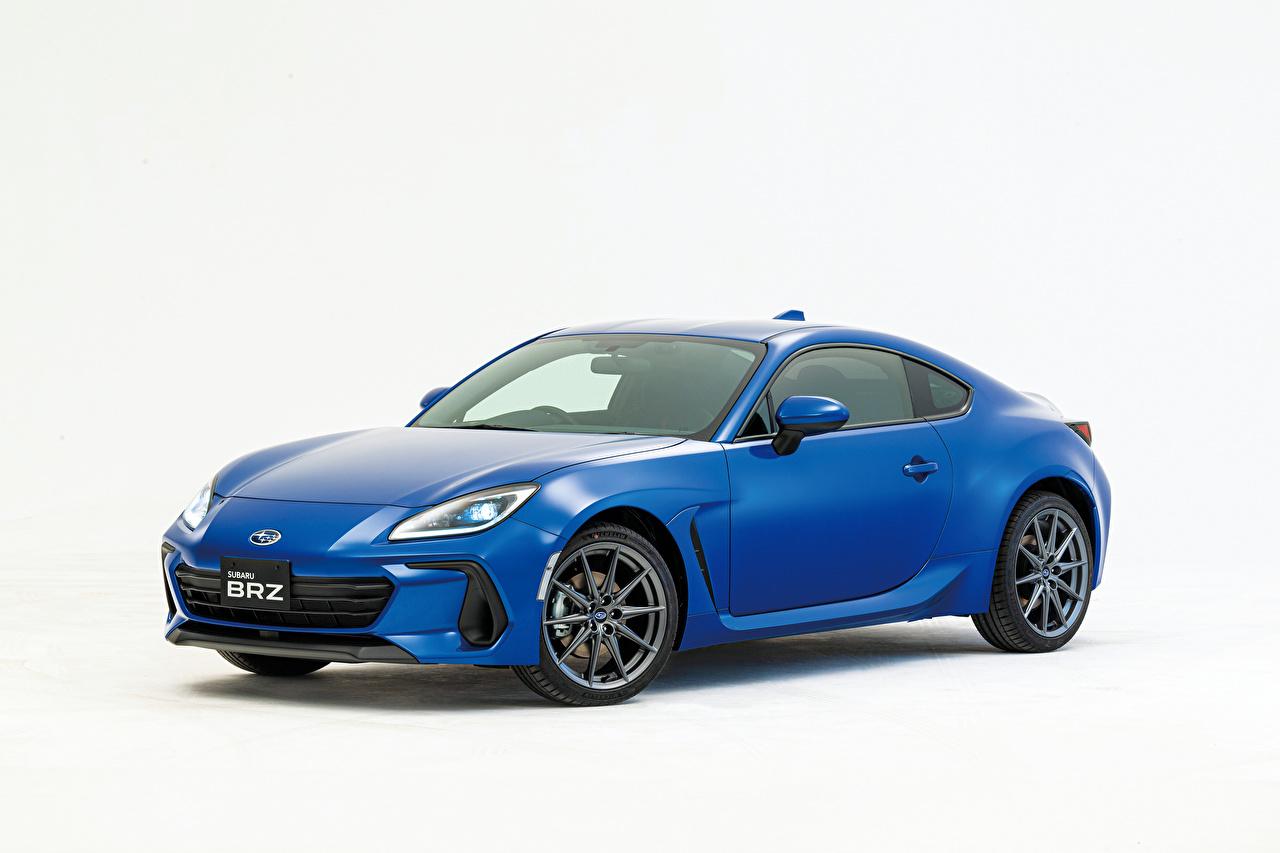 Foto Subaru BRZ, JP-spec, 2021 Blau Autos Metallisch Weißer hintergrund auto automobil
