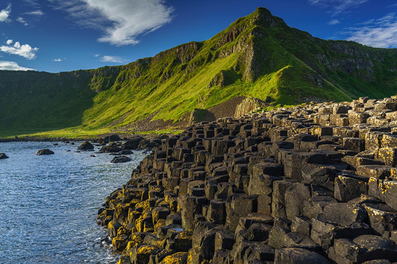 Foto Vereinigtes Königreich Northern Ireland, County Antrim, Giant's Causeway Berg Natur Felsen Steine Küste Gebirge Stein